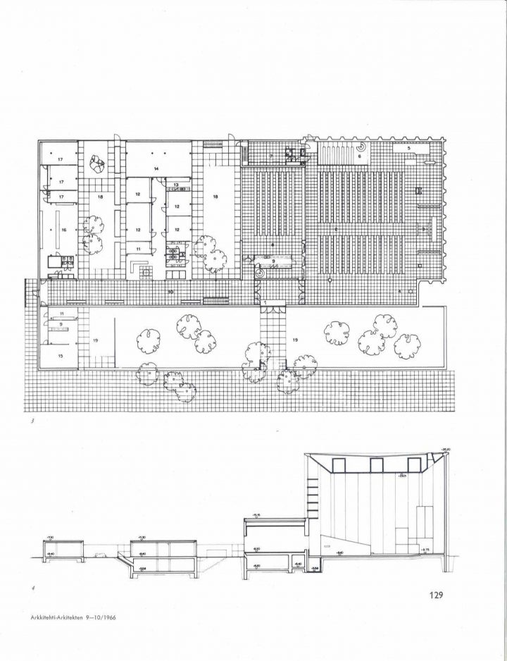 Floor plan and elevation, Tapiola Church