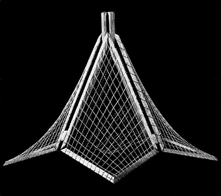 Structural model of the roof, Kannelmäki Church