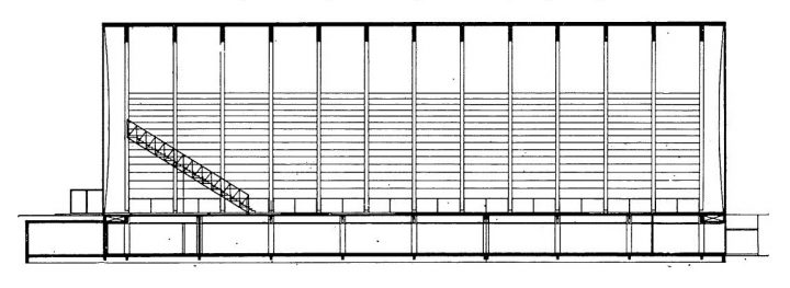 Cross section drawing, Kupittaa Sports Hall