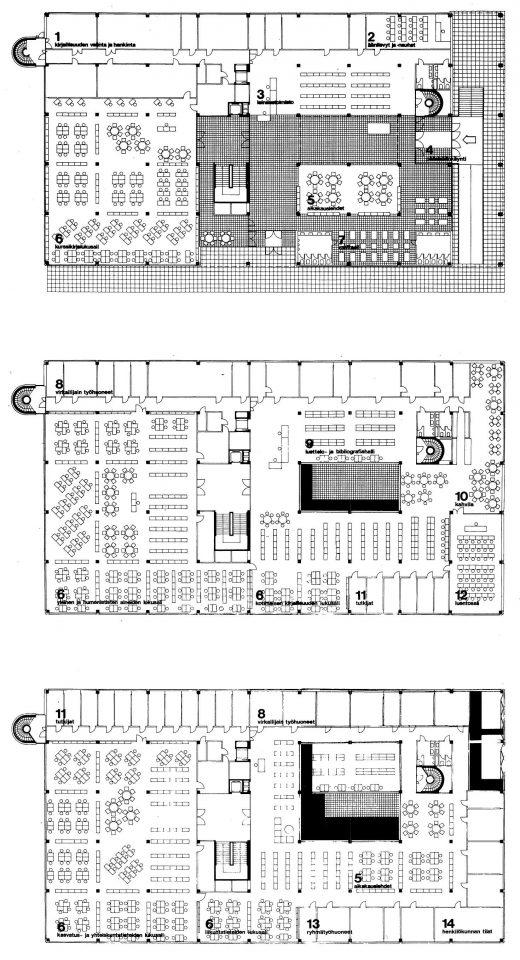 Floor plans, University of Jyväskylä Library