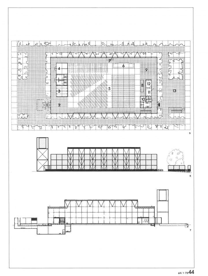 Floor plan and elevations, Kouvola Central Church