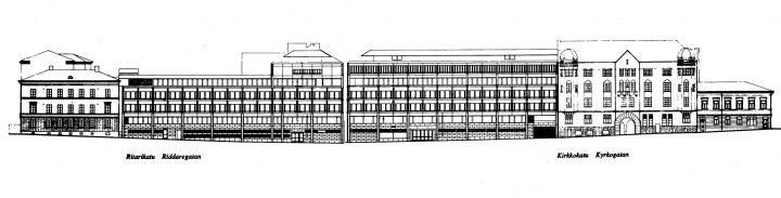 Block elevation plans, Ritarikatu and Kirkkokatu, Ministry of the Interior