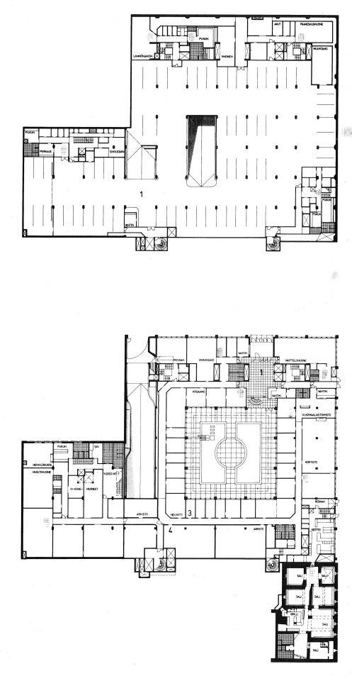 Upper basement floor and ground floor floor plans, Ministry of the Interior