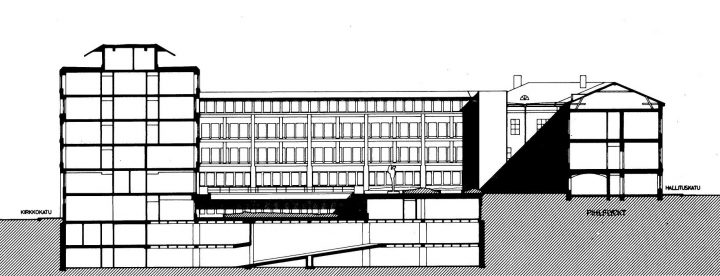 Section drawing of the block, Ministry of the Interior