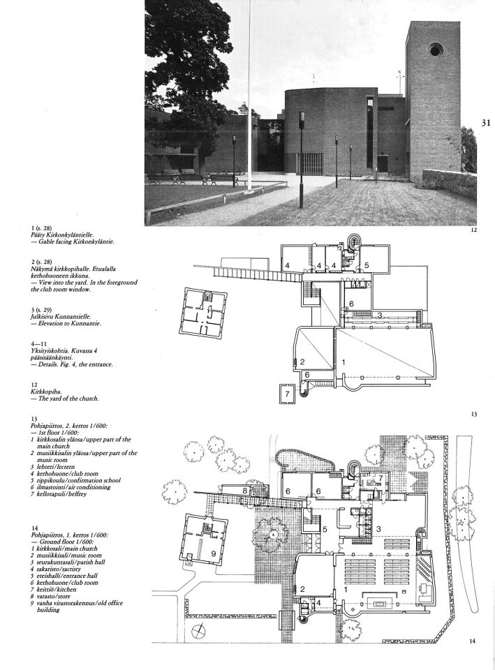 Façade to the church yard and floor plans, Malmi Church
