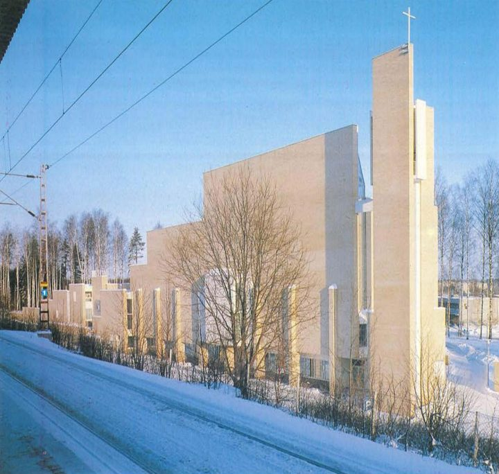View from the railway station, Myyrmäki Church