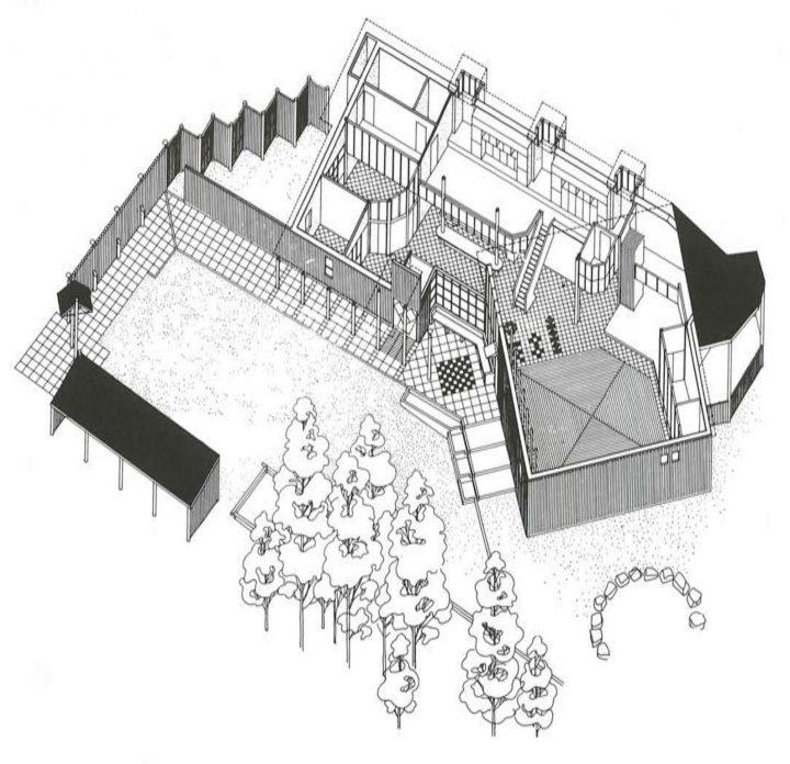 Axonometric drawing, Nuorkka Youth Centre