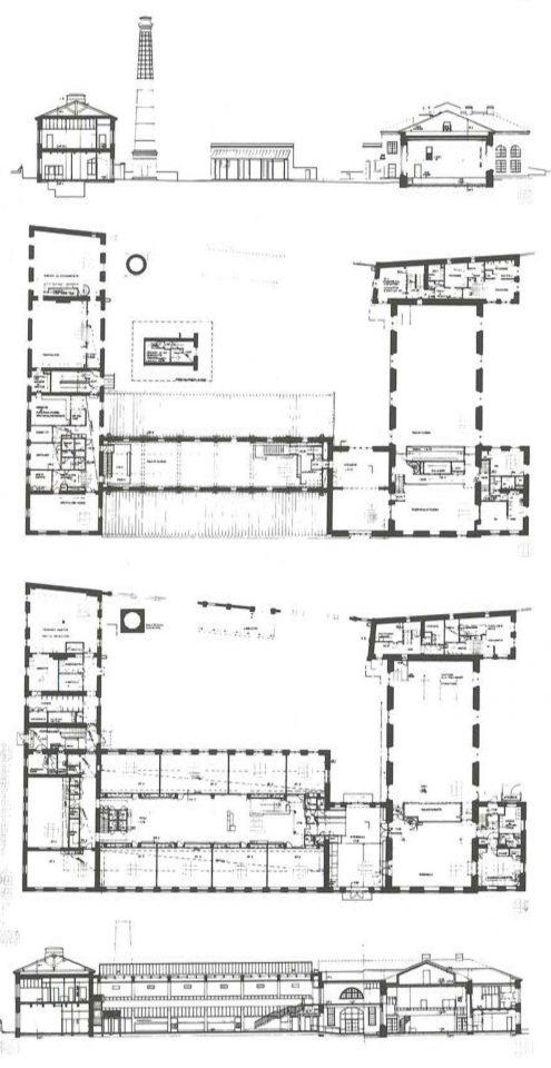 Longitudinal section across the yard, 1st floor and ground floor floor plans, longitudinal cross section at the hall and dining room, Katajanokka School and Luotsi Daycare Centre