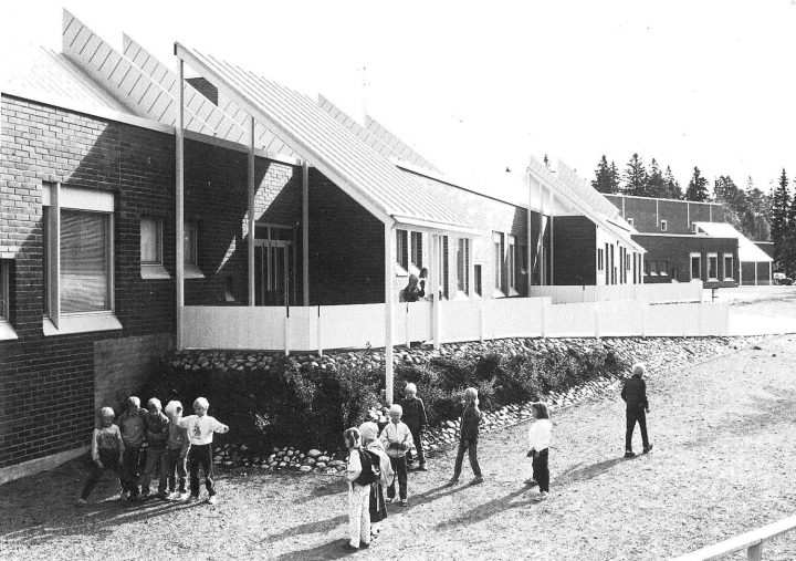 View of the elevation on the yard side, Suna School