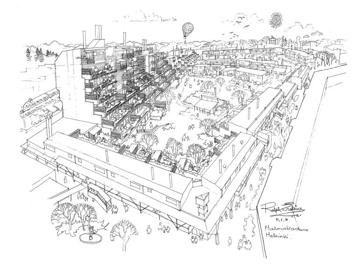 Perspective drawing, Malminkartano Housing Complex