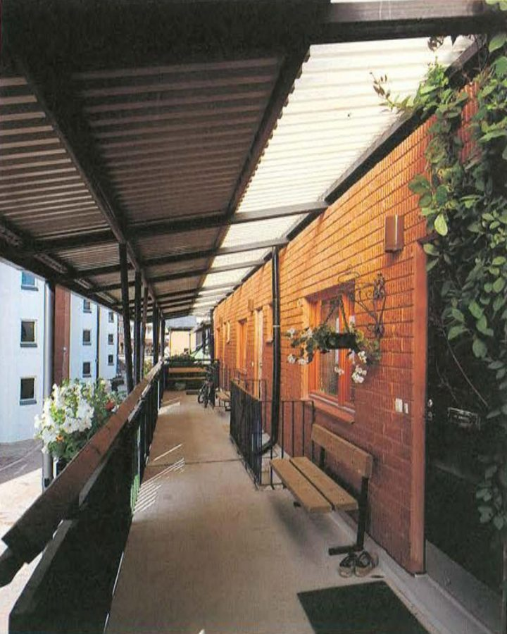 Side corridor leading to apartments, Malminkartano Housing Complex
