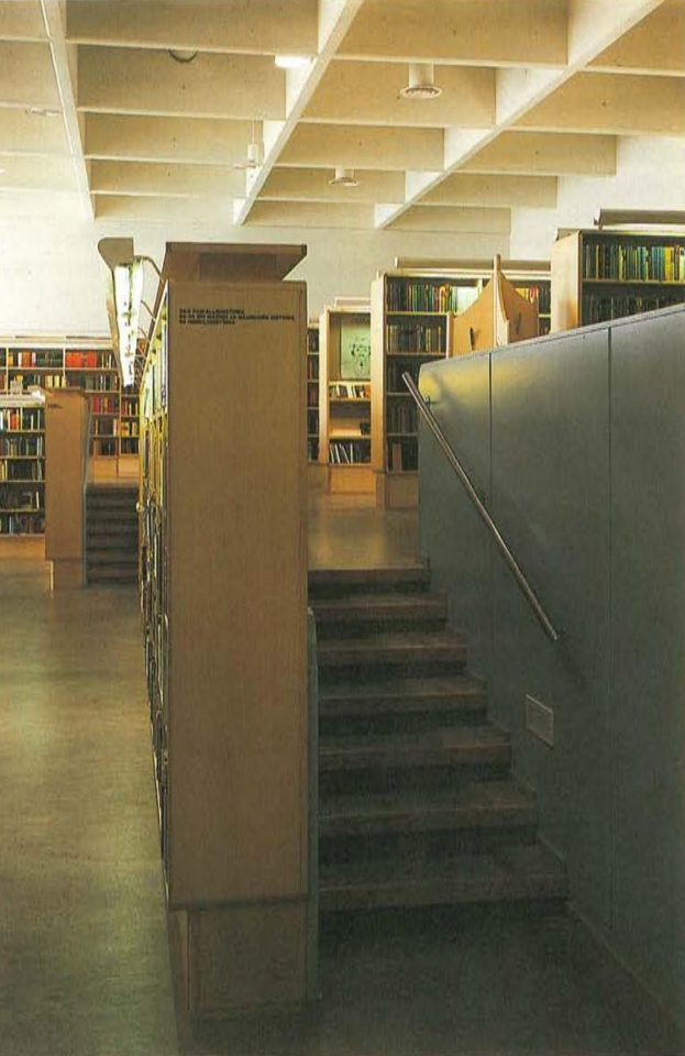 Stairs to the upper level of 1st floor lending section, Riihimäki City Library