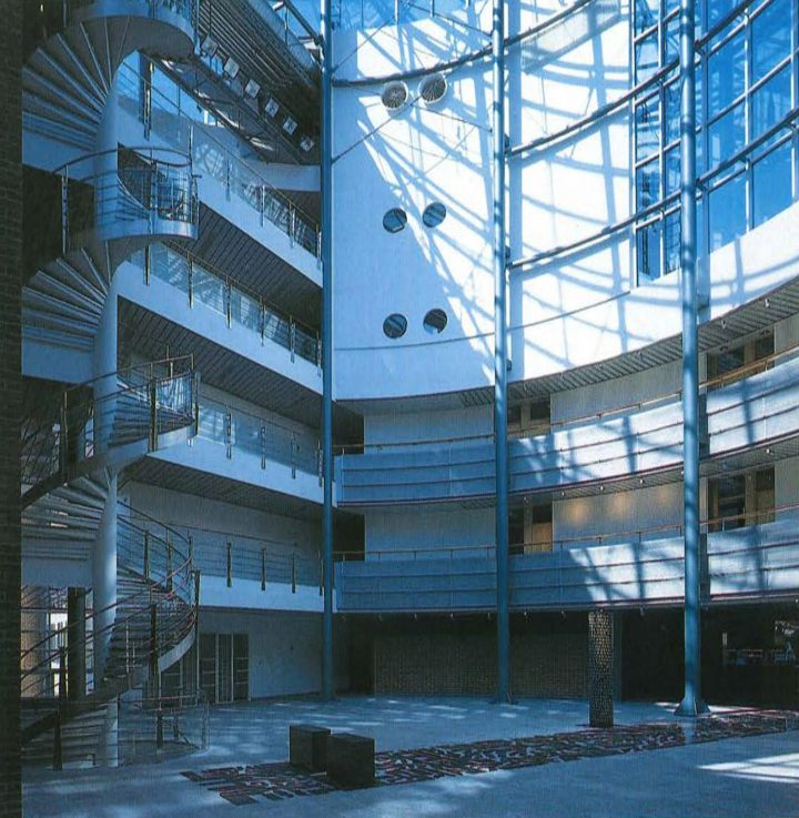 View from the main lobby, sculpture by Martti Aiha, Innopoli 1