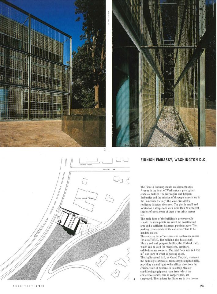 Details of the façades and site plan, Washington D.C. Embassy of Finland