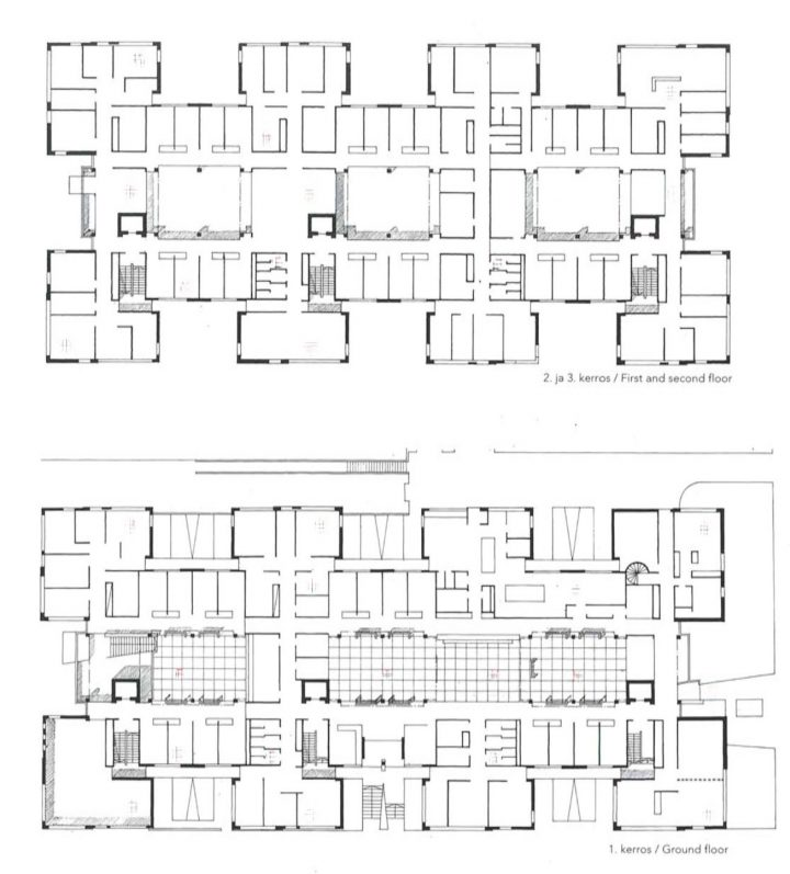 Floor plans, Kotka Government Office Building