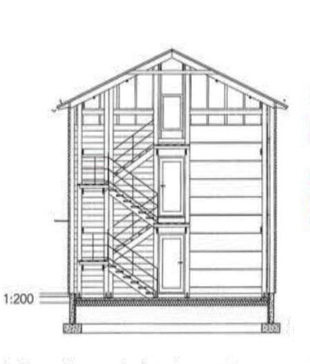 Section drawing, Oulu Market Square Wooden Storehouse