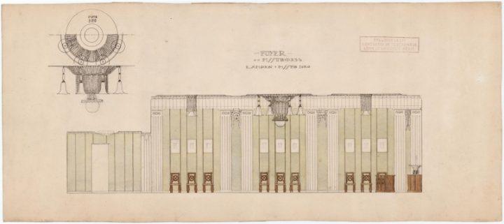 Original drawing of the foyer interior design, Estonia Theatre