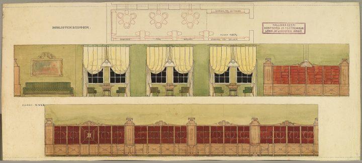 Original drawing of the library interior design, Estonia Theatre