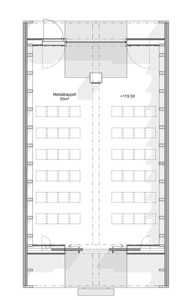 Floorplan, Tervajärvi Forest Chapel