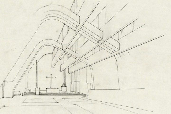 Perspective drawing, Riola Church and Parish Centre