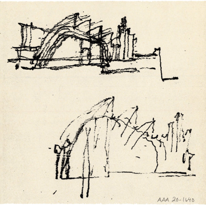 Sketch drawing, Riola Church and Parish Centre
