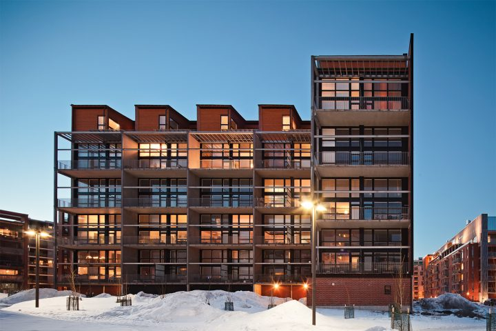 Facade with terrace balconies, Tila Loft Housing