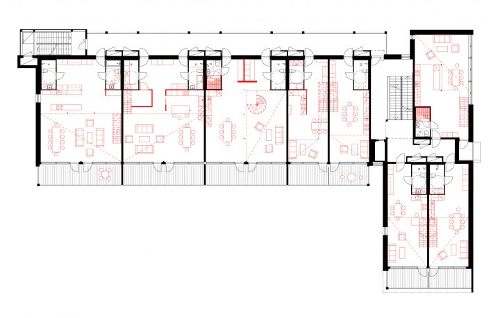 2nd floor plan with partition and furnishing solutions, Tila Loft Housing