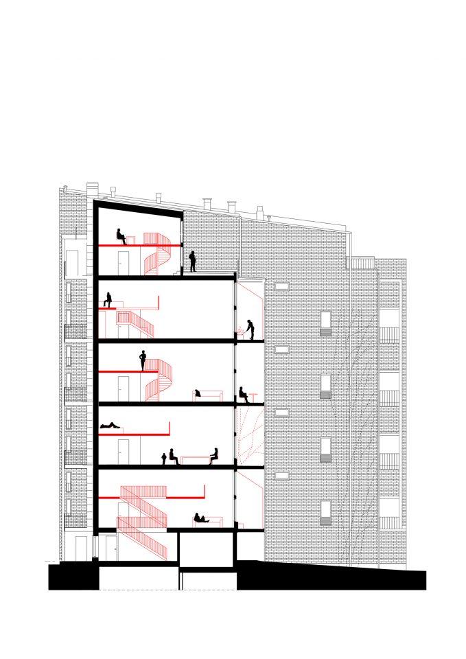 Section with mezzanine solutions, Tila Loft Housing