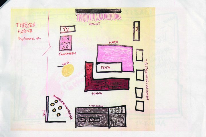 Design for the girl's room by Saara, 16, in a design workshop, Maunula Community Centre