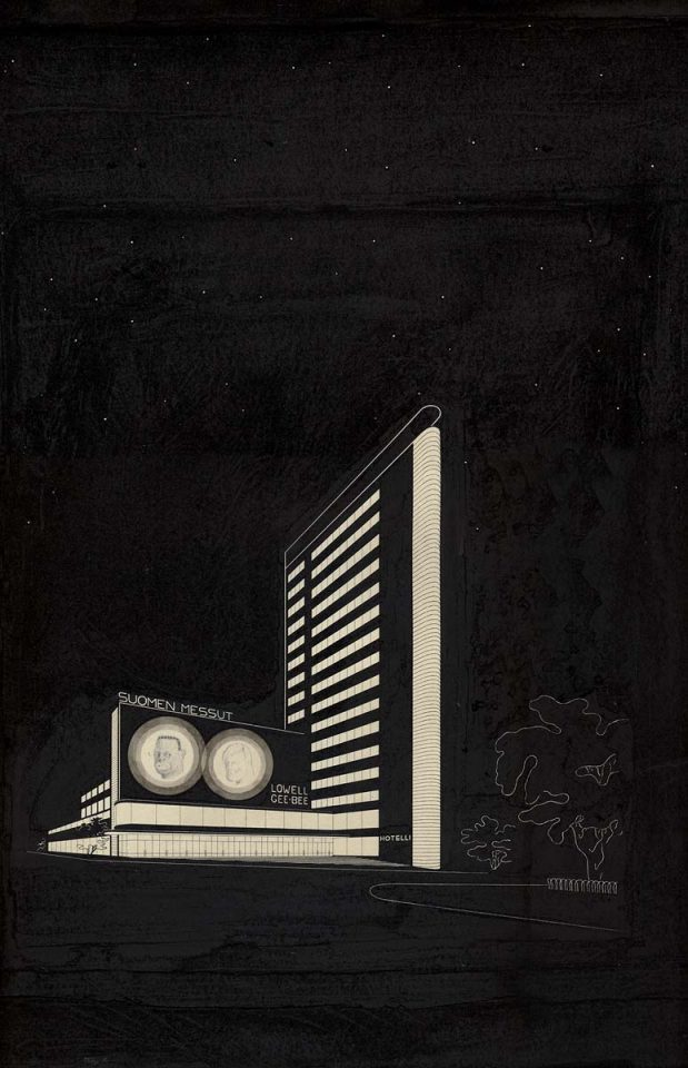 Perspective drawing, 1934, Töölö Sports Hall (former Expo Hall)