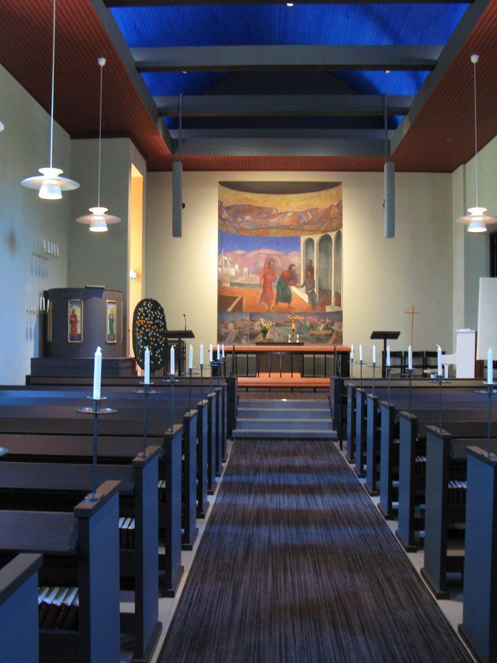 Church interior after renovation in 2016, Muurame Church