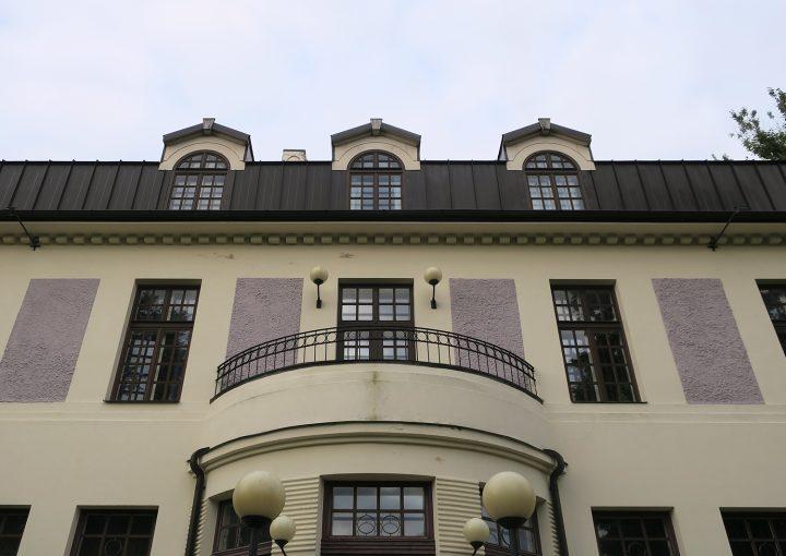 Detail of garden side façade, Sakala Student Nation House