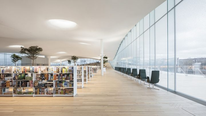Top floor library hall just before the opening, Helsinki Central Library Oodi
