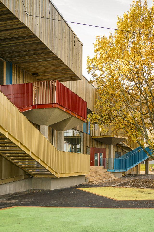 The courtyard façade, Vaaralanpuisto Daycare Centre