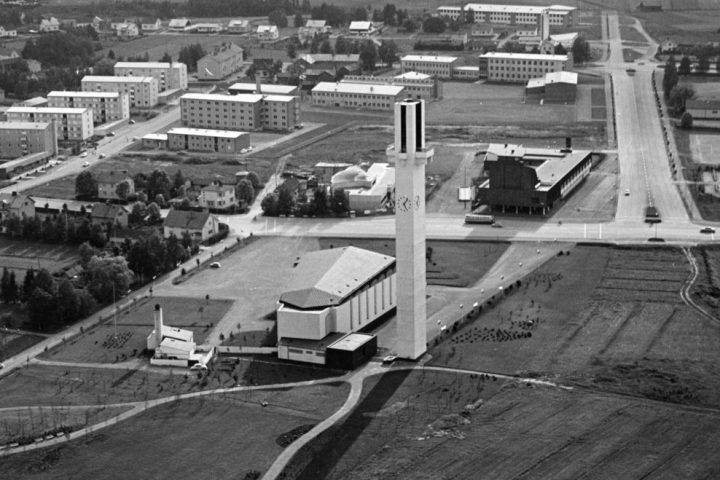 1960s aerial photo, Cross of the Plains Church (Lakeuden risti)