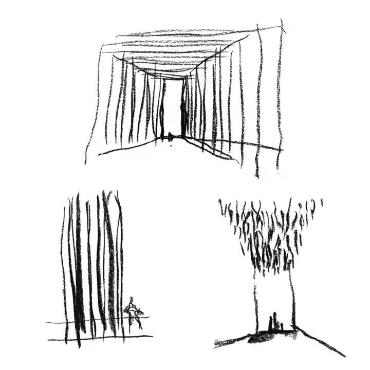 Sketches by principal designer Teemu Kurkela, Kirkkonummi Main Library Fyyri