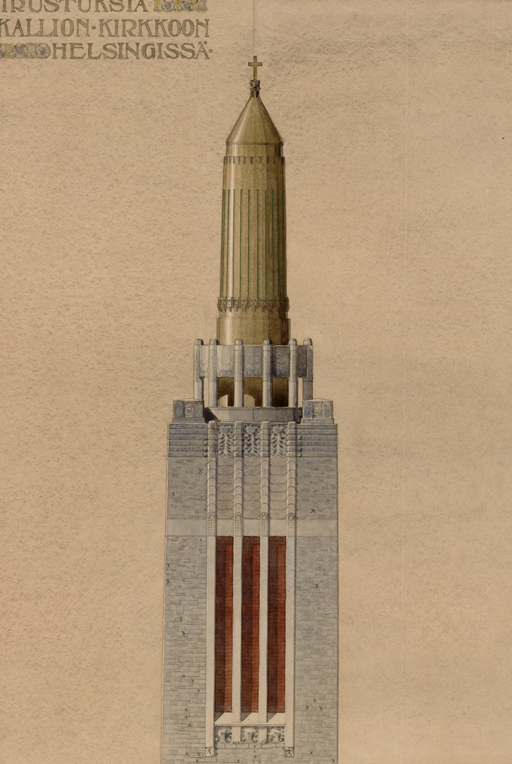 Tower sktech by Sonck., Kallio Church