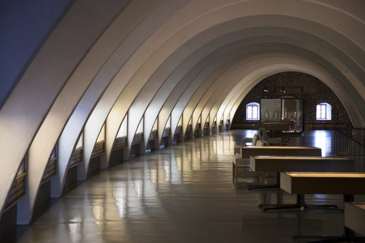 Exhibition space in the attic designed by Erik Bryggman in 1946, Turku Castle